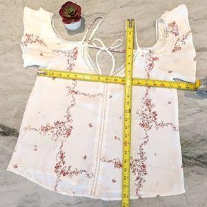Boho Flowy Ruffled White and Red Flower Shirt